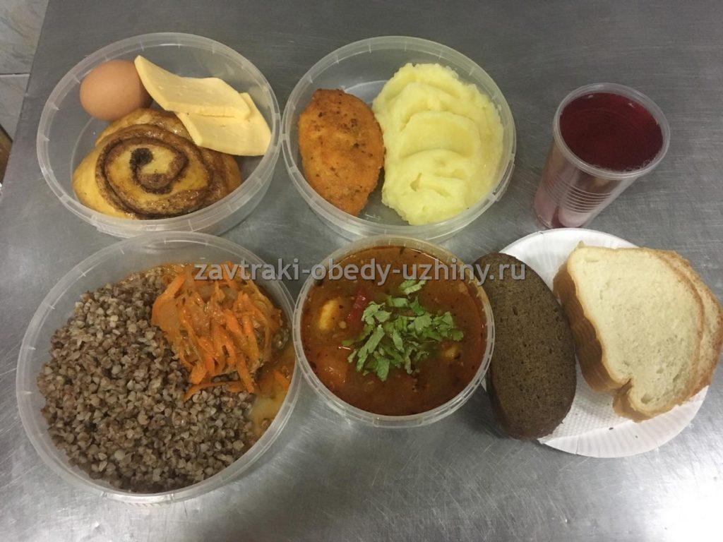 Фото завтрака обеда и ужина с доставкой на стройку за 260 руб.